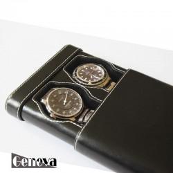 Etui cuir noir pour 2 montres XL Geneva pour le voyage