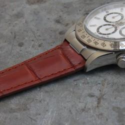 Watchstrap 20-16 for deployment buckle Gold Brown Alligator compatible Rolex Daytona Gold