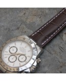 Watchstrap 20-16 for deployment buckle Gold Brown leather waterproof compatible Rolex Daytona Gold