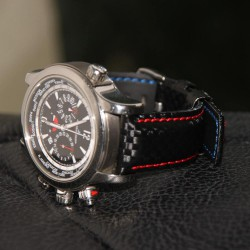 Watchstrap Hirsch Carbon Black 22mm red stiches