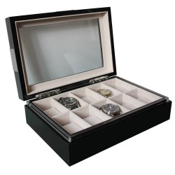 Coffret 10 montres Executive laque noire brillante