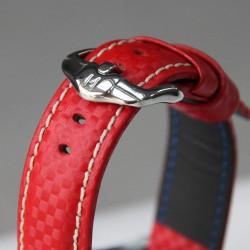 Watchstrap Hirsch Carbon Red 22mm waterproof