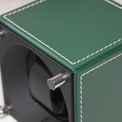 Watchwinder Swiss Kubik Single Green Leather white stiches