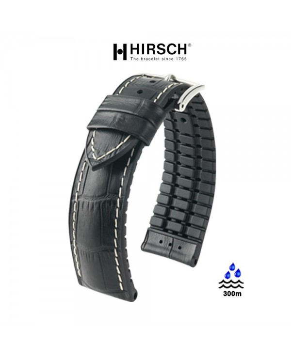 Watchstrap Hirsch GEORGE black 20mm and black rubber