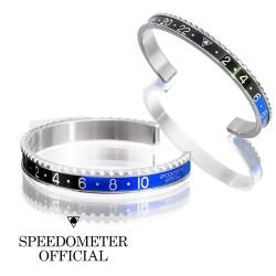 Bracelet Speedometer Bleu Noir BATMAN et Inox Poli
