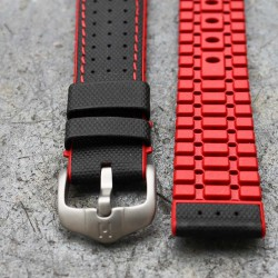 Watchstrap Hirsch ROBBY Red 22mm and black leather
