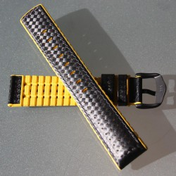 Watchstrap Hirsch AYRTON yellow 22mm and Carbone Leather