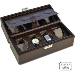 Coffret 8 Montres cuir chocolat graine- Scatola 8B XL Oversize