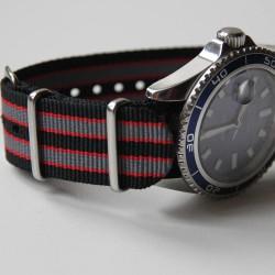 NATO Strap Goldfinger Grey red black 20mm