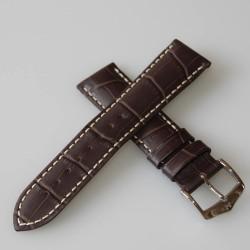 Watchstrap Hirsch Modena Dark Brown18mm white stiches