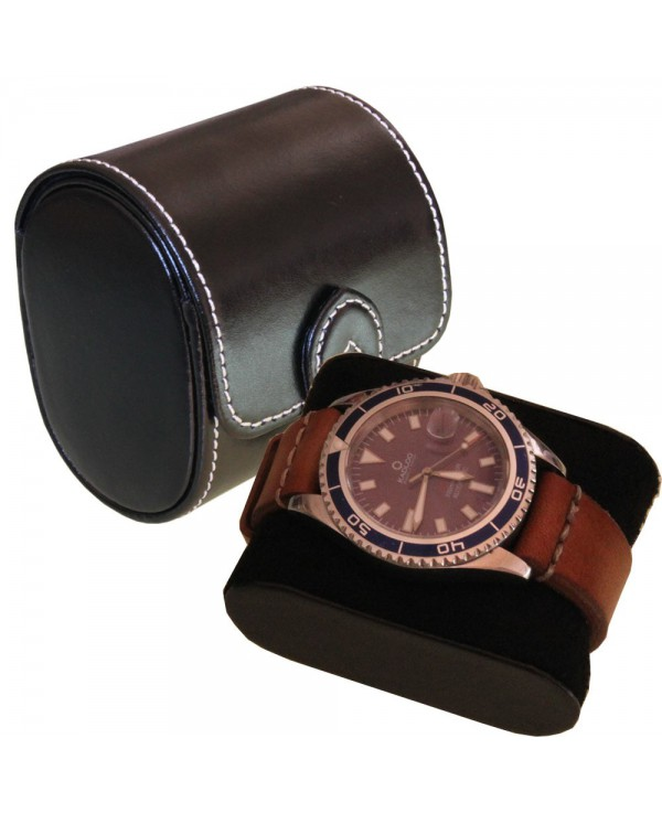 Watch case black leather London for one watch