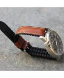 Bracelet Hirsch JAMES cuir lisse Performance Marron Doré 20mm