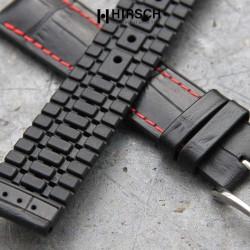 Watchstrap Hirsch GEORGE black 22mm and red stich