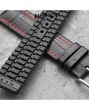 Bracelet de montre 22mm George Cuir noir et couture rouge