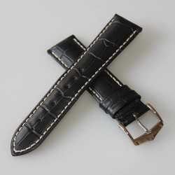 Watchstrap Hirsch Modena Dark Brown18mm white stiches