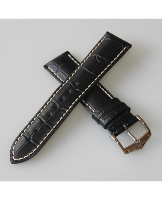 Watchstrap Hirsch Modena Dark Brown 20mm white stiches