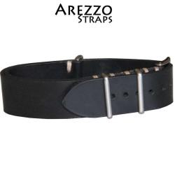 Bracelet NATO Arezzo Cuir Noir 20mm