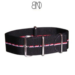Bracelet de montre NATO 22mm Noir filet blanc rouge