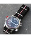 NATO Strap black small line red white 20mm