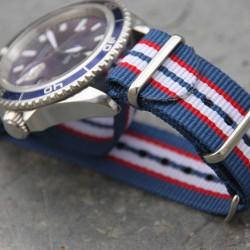 NATO Strap slim line blue white red 20mm