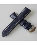 Bracelet Hirsch Heavy Calf Bleu 24mm couture blanche