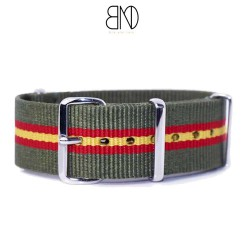 NATO Strap Kaki with lines red and yellow 22mm