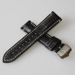 Watchstrap Hirsch Liberty black 18mm white stiches