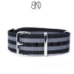 NATO Strap James Bond Black Grey 18mm