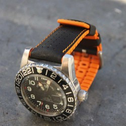 Watchstrap Hirsch ROBBY orange 22mm and black leather
