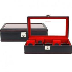 Coffret 10 montres Carbon Noir intérieur Rouge