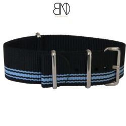 Bracelet NATO Noir Bleu Alpine 20mm