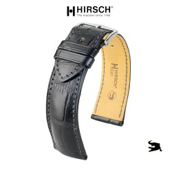 Watchstrap Hirsch KNIGHT black 20mm white stiches