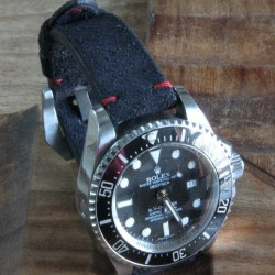 Watchstrap Arezzo HORSEMAN 20mm Black red stich