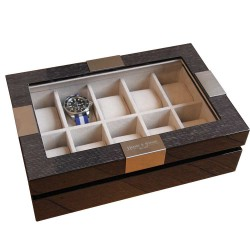 Excecutive 10 watch box Makassar black wood for 10 watches