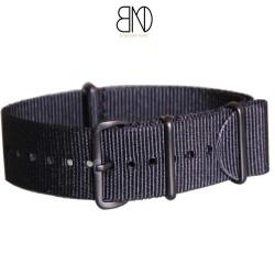 Bracelet NATO 24mm noir PVD Noir