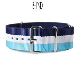Bracelet NATO 20mm bleu blanc ciel