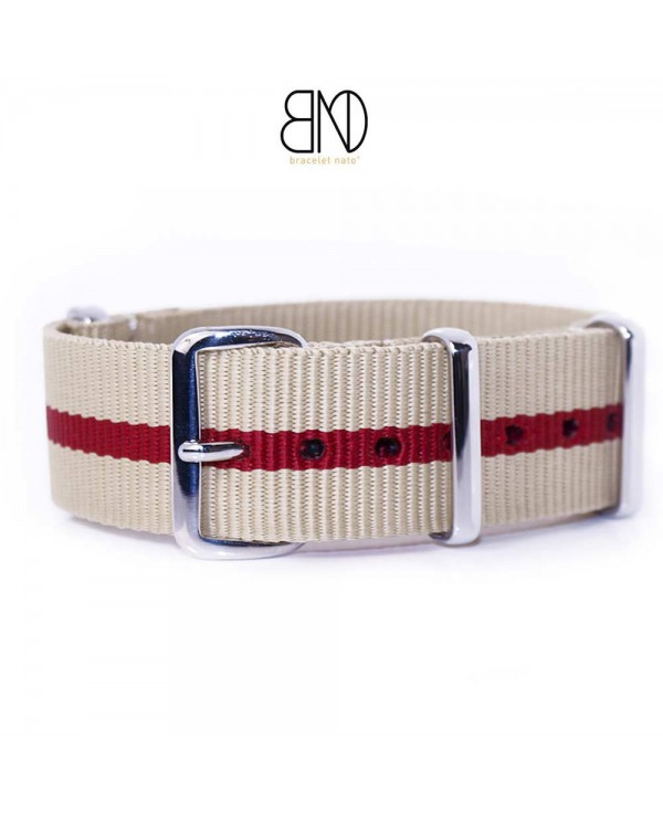 NATO Strap beige and red 20mm
