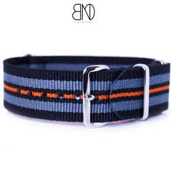 NATO Strap black grey orange line 20mm