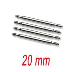 Set de 4 Barrettes Pompes inox 20mm renforcé pour bracelet