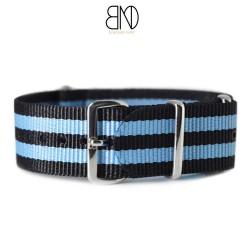 Bracelet NATO 20mm James Bond Noir Bleu