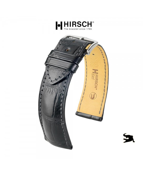 Watchstrap Hirsch EARL black 22mm Alligator