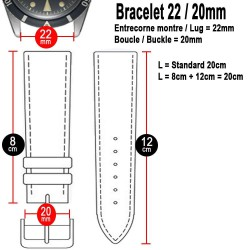 Bracelet Hirsch Andy Orange 22mm Cuir Noir