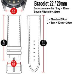 Bracelet Hirsch ROBBY Caoutchouc Bleu 22mm Cuir Noir