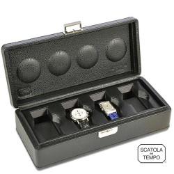 Coffret 4 Montres - Scatola 4B XL Oversize cuir noir graine