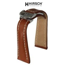 Watchstrap Hirsch NAVIGATOR 22mm goldbrown with deployment buckle