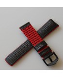 Watchstrap Hirsch AYRTON Red 22mm and Carbone Leather