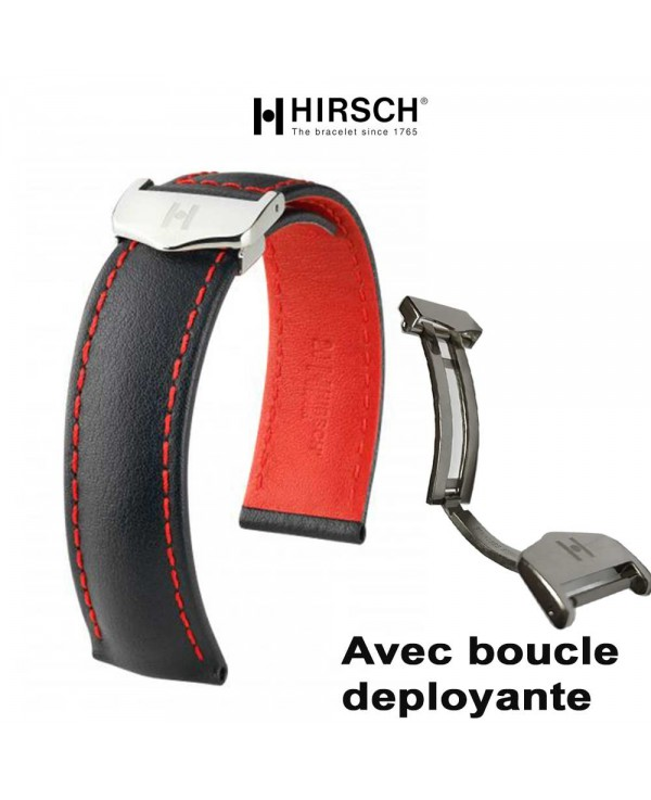 100% de satisfaction prix le plus bas design élégant Bracelet Hirsch SPEED 20mm avec boucle deployante noir rouge