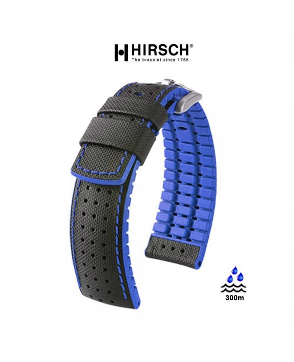 Watchstrap Hirsch ROBBY Blue 22mm and black leather