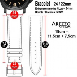 Watchstrap Arezzo HORSEMAN 24mm Horse Leather black red stiches