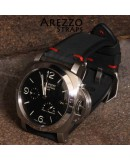 Watchstrap Arezzo BRUTUS 24mm Vintage black Leather red stiches